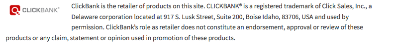 Clickbank Disclaimer